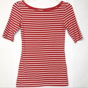 14th & Union Red Striped Elbow Sleeve Top Sz Small